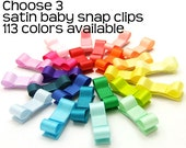 Choose 3 Baby Snap Clips, Satin Tuxedo Bows, No Slip Snap Clips Satin Baby Barrettes, Satin Snap Clips, Infant Hair Bows, Baby Girls Toddler