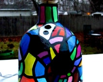 Patron Bottle Light, Night Light, Accent Light, Hand Painted, Colorful Abstract Design