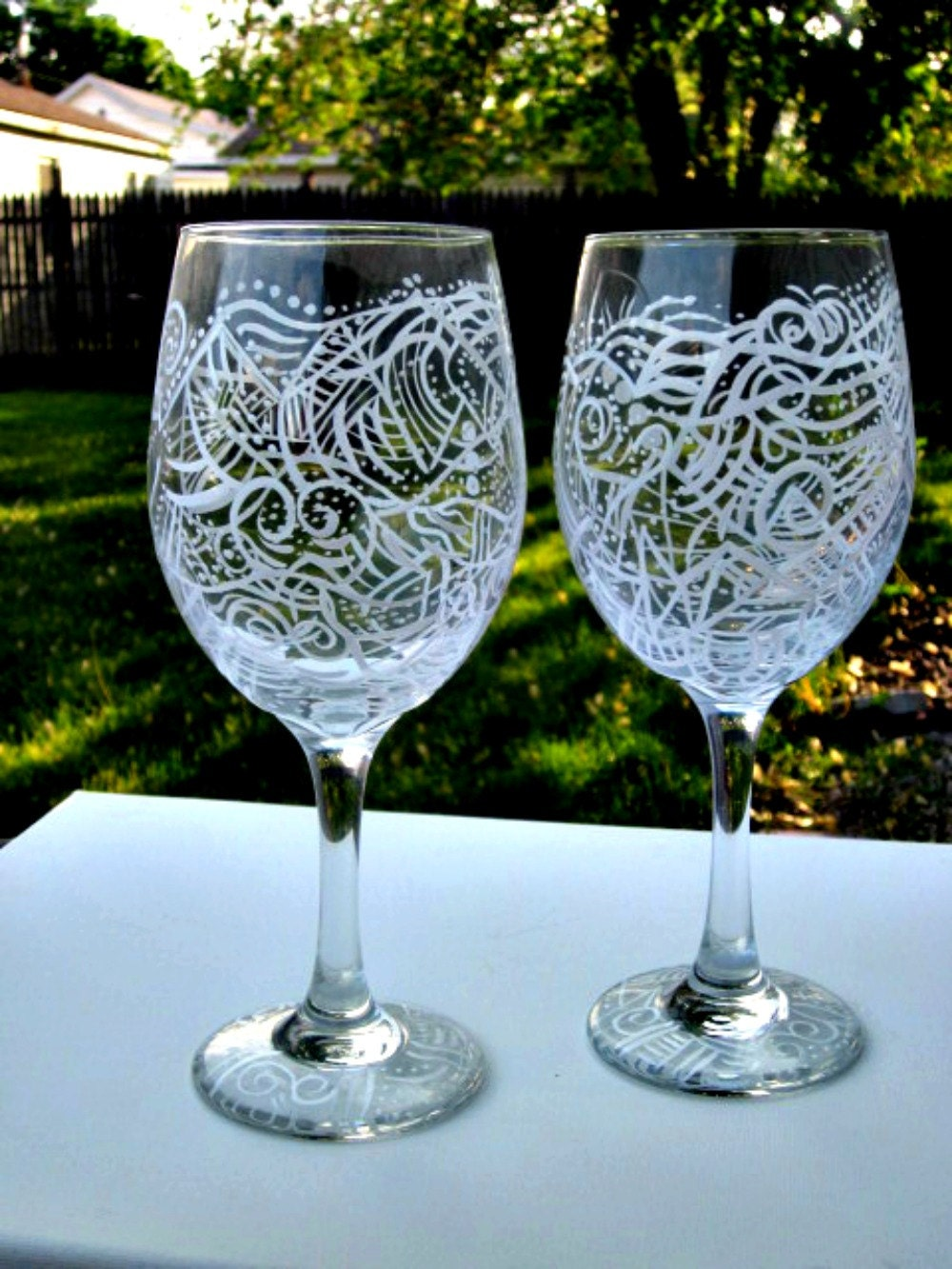 Abstract Wine Glasses Hand Painted Unique Colorful Design