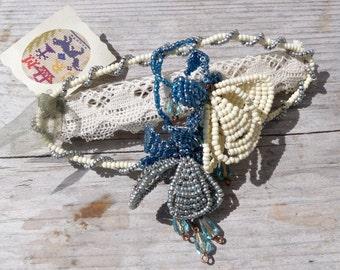 Barette French handmade hair slide / beaded flowers on lace /Ultra romantic