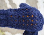 Double knit mittens. Dark blue lace pattern with yellow lining