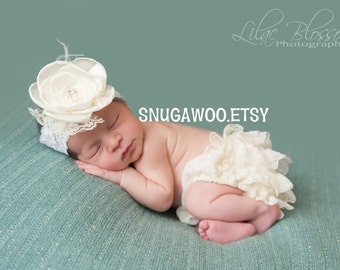 Ivory ruffle bum bloomers WITH headband,newborn girl, baby girl, newborn photo prop, newborn outfit, hospital pictures outfit, baby gift