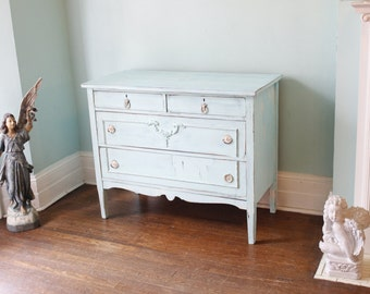 custom order Antique Dresser Shabby Chic white aqua turquoise distressed bedroom vintage Cottage prairie