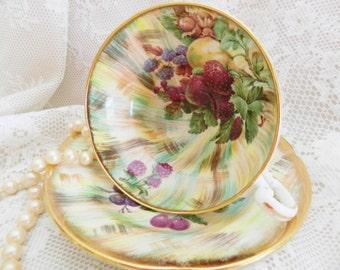 Old Royal Teacup, Samson Smith Tea Cup,  Berry & Pear Teacup, Old Royal Fruit Teacup,   noA26