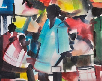 The Village Watercolor Painting, African American Art, Watercolor Painting, Black Art Print, African Artwork, Contemporary Art, Abstract Art