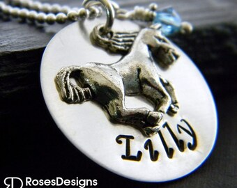 Personalized Horse Necklace, Polo, Sterling Silver, Handstamped Necklace, Personalized Gifts, by RosesDesigns