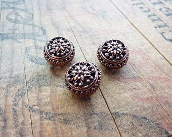 Metal Bead Bali Bead Copper Filigree Beads (2) IC424