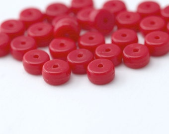 Vintage Red German Glass Spacer Disc Beads 8mm (25)