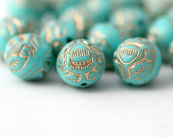 Turquoise Gold Acrylic Beads Etched Ornate Carved Round Acrylic Beads 12mm (20)