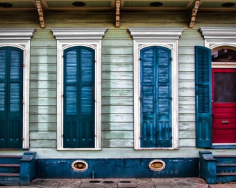NOLA Red and Blue Doors - New Orleans Architecture