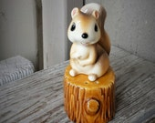 Ceramic Squirrel on a  Stump salt and pepper shakers