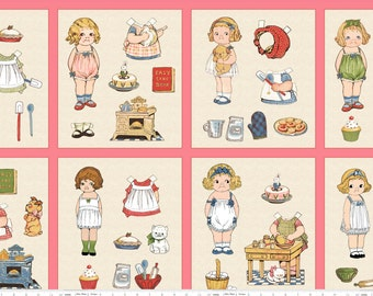 "Bakery PAPER DOLLS 8 different fabric Paper Dolls P4350 | Sibling Arts Studio + Penny Rose Fabrics | pink squares 44"" wide 