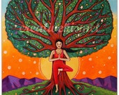 Centered - Girl in Tree Pose - 11 x 14 Art print by Regina Lord