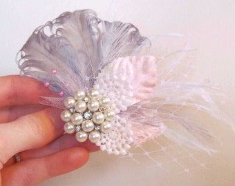 Pink & Gray Feather Hair Clip for Your Wedding with Netting