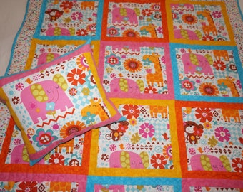 Jungle Animal Quilt and Pillow with Elephants, Giraffes, Monkeys and Tons of Flowers