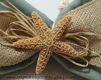 Napkin Ring with Sugar Starfish over Burlap - Beach Wedding - Housewarming - Shells - Seashore
