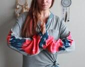 Gray/Blue Henley Tie Dye ...