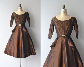 Bronze Age dress • vintage 1950s dress • metallic 50s party dress