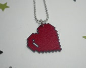 Red 8 Bit Pixel Heart Necklace Gamer/PC Gamer/Geek Chic