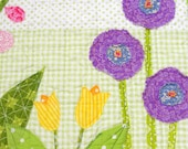 "Quilted table runner for Spring- ""Happy"" with pink, purple and yellow flowers on green- free shipping to USA- Ready to ship"