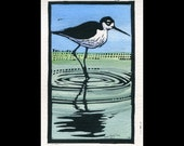 Black-necked Stilt hand painted linocut (A)
