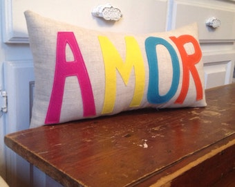 READY to SHIP- AMOR Pillow on Natural Linen