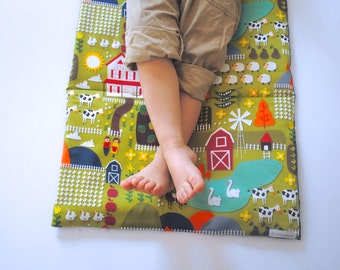 Organic Toddler Nap Mat - Farm Animals Preschool Napmat - Eco-Friendly Kids Bedding