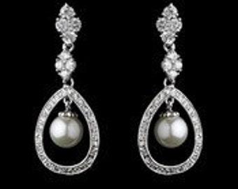 Pearl wedding earrings crystal vintage inspired Art Nouveau 1920/30s style pearl crystal drop wedding bridal earrings silver tone