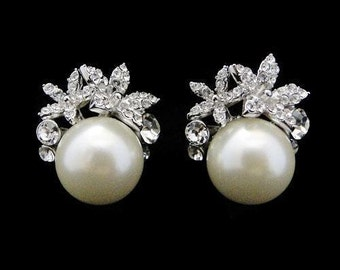 Wedding Jewellery Bridal stud earrings wedding 1950s vintage style antique pearl wedding bridal pearl stud earrings