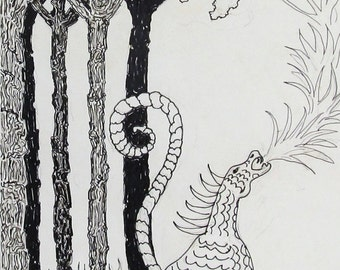 Dragon Fire,  pen and ink, drawn and signed by the artist,  Only one