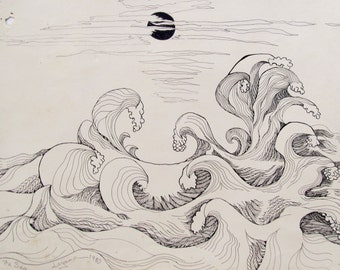 Sea,  pen and ink, drawn & signed by the artist,  Only one