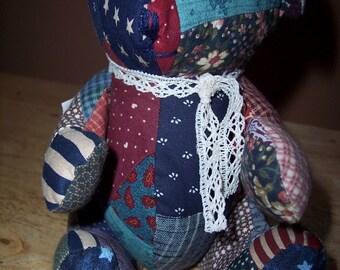 Calico patchwork teddy bear