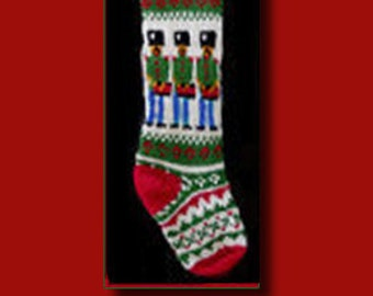 Hand knit Christmas stocking,  Personalized, made of pure wool yarn,  fully lined -- toy soldier drummer
