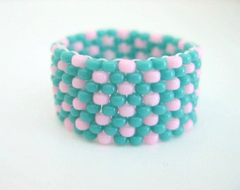 Peyote Ring / Seed Bead Ring in Turquoise and Pink /  Beaded Ring / Size 8 Ring / Geometric Ring / Gift for Her / Custom Ring