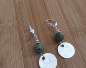 Green Russian Serpentine and Fine Silver lever back earrings, handcrafted jewelry