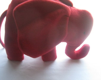 Red Plush Elephant Stuffed Animal  Washable Soft Toy Gift Additional Colors Available