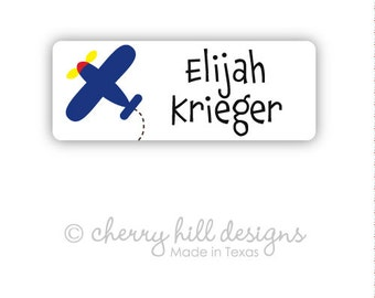 AIRPLANE Iron-on clothing and fabric labels - set of 42 (smallest set) - several template options