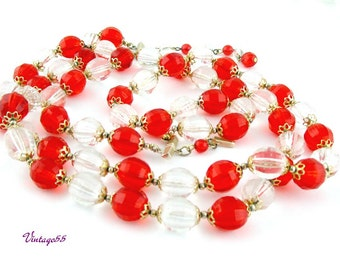 Necklace Beaded Red Clear Two strand