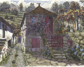 The red gate -- Original art, small 7x5 landscape watercolor painting inspired in Portugal