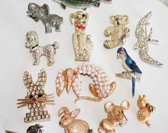 Lot of Thirteen Animal Brooches