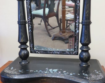 Antique Victorian Mother of pearl and Laquer Dressing Mirror