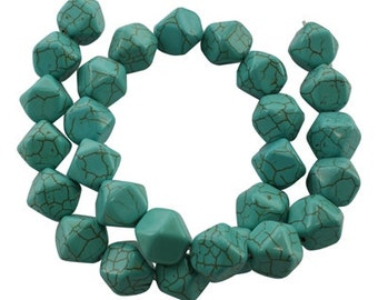 Faceted Howlite beads - Sold per strand - #TURQ253