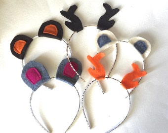 Bears and Antlers Headband Pack, Photo Booth Props, Antlers, Bear Ears, Lumberjack Party, Woodland Party, Party Favors
