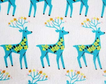 Japanese Oxford Cotton Fabric - Antelopes with Flowers in White - Fat Quarter - Sopo Muoto from Japan