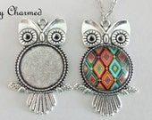 20 Owl Pendant Kits - Pendant Trays 1 inch Glass Cabochons and Matching Chains - 25mm