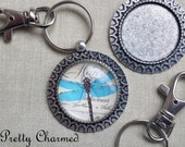 15 Key Chain Kits - 30mm Pendant Trays Glass Cabochons and Lobster Clasp Key Rings Antique Silver