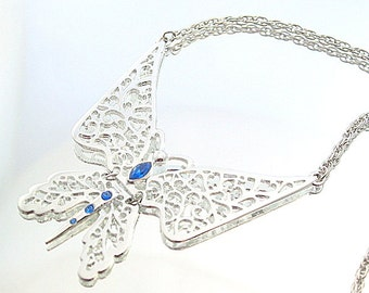 Rhinestone Vintage Butterfly Necklace Silver Retro Blue Stone Butterfly Statement Pendant
