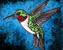 Ruby Throated Hummingbird Bird  Iron ON Patch 100% embroidery