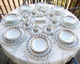 MCM Vintage Dinnerware for 4 or 8: Plaid 'Highlander' Pattern 3909, Harmony House MidCentury Japanese Porcelain