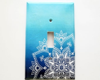Bohemian Switchplate Cover - Mandala switchplate  - Navy Ombre - Bohemian Bedroom Decor